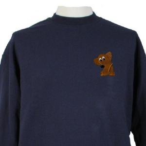 dachshund embroidery design on a blue sweatshirt