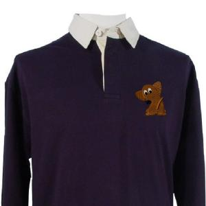 dachshund embroidery design on a rugby jersey