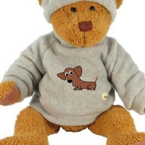 dachshund embroidery design on a teddy bear